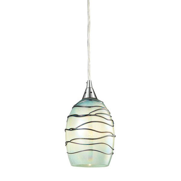 Vines Collection 1 light pendant in Satin Nickel