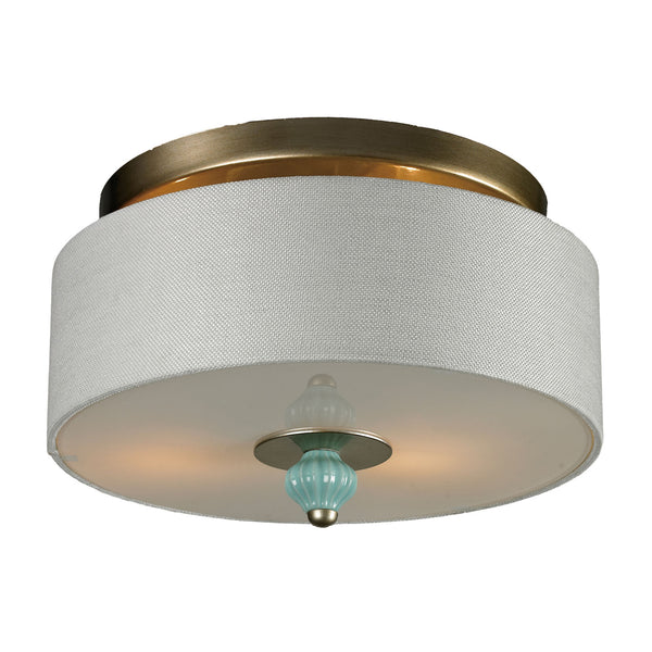 Lilliana 2 Light Semi Flush In Seafoam and Aged Silver