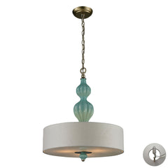 Lilliana 3 Light Pendant In Seafoam and Aged Silver With Adapter Kit