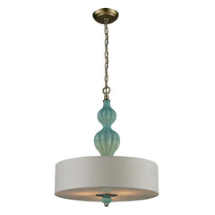 Lilliana 3 Light Pendant In Seafoam & Aged Silver