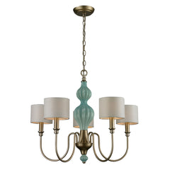 Lilliana 5 Light Chandelier In Seafoam and Aged Silver