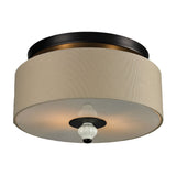 Lilliana 2 Light Semi Flush In Cream and Aged Bronze