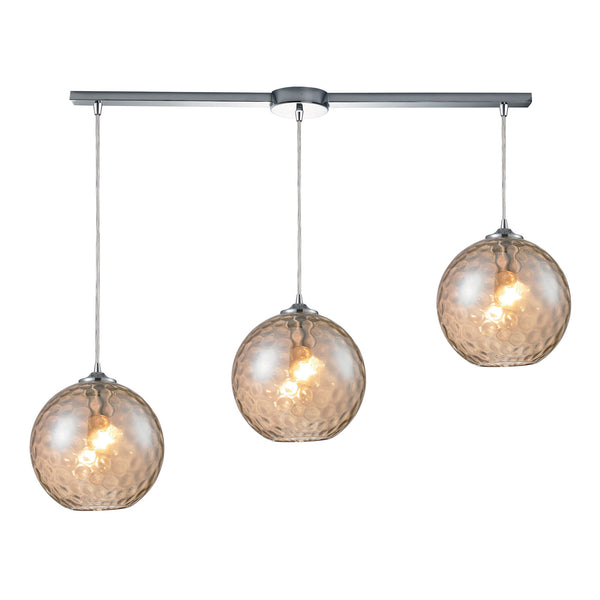 Watersphere 3 Light Pendant In Polished Chrome & Champagne