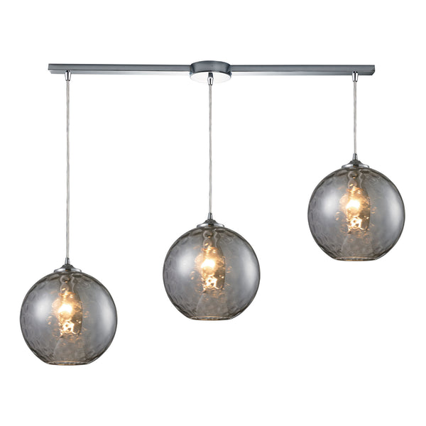 Watersphere 3 Light Pendant In Polished Chrome & Smoke