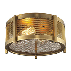 Rialto Collection 2 light flush mount in Aged Brass