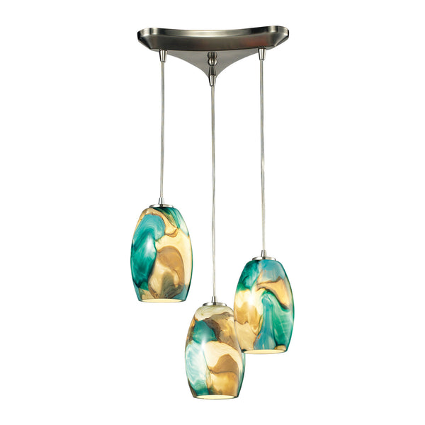 Surreal Collection 3 light chandelier in Satin Nickel