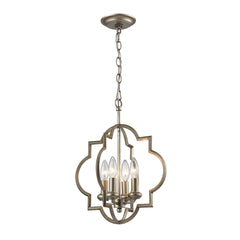 Chandette 4 Light Pendant In Aged Silver