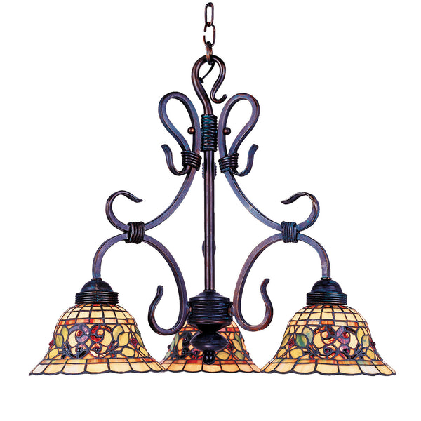 Tiffany Buckingham 3-Light Chandelier In Vintage Antique With Tiffany Style Glass
