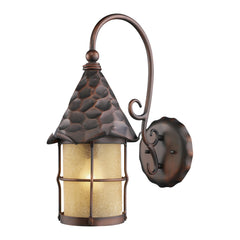 Rustica 1-Light Outdoor Sconce In Antique Copper w/ Amber Scavo Glass