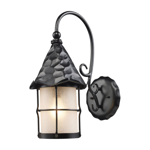 Rustica 1-Light Outdoor Sconce In Matte Black w/ Scavo Glass