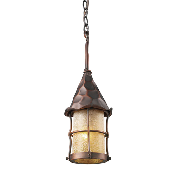 Rustica 1-Light Outdoor Pendant In Antique Copper w/ Amber Scavo Glass