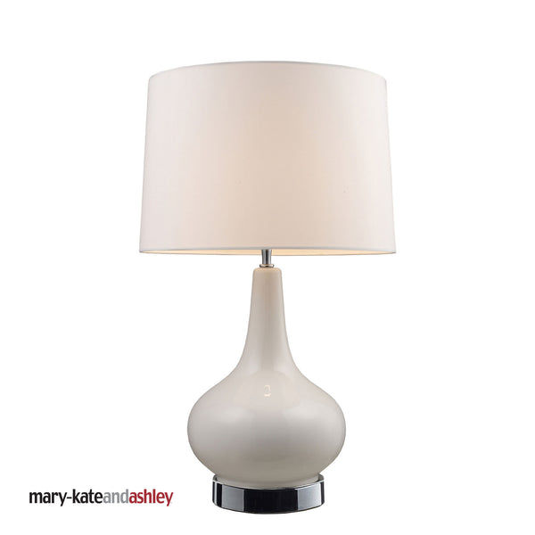 "27"" Contemporary Mary-Kate & Ashley 27"" Continuum White Table Lamp - Chrome"