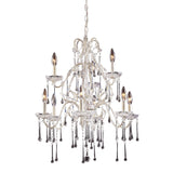 9 Light Chandelier In Antique White & Clear Crystal