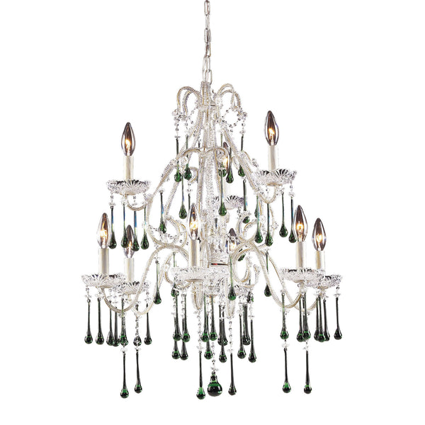 9 Light Chandelier In Antique White & Lime Crystal