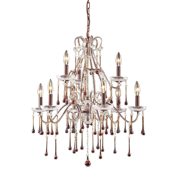 9 Light Chandelier In Rust & Amber Crystal