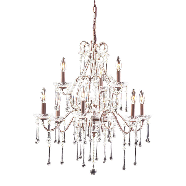 9 Light Chandelier In Rust & Clear Crystal