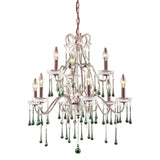 9 Light Chandelier In Rust & Lime Crystal