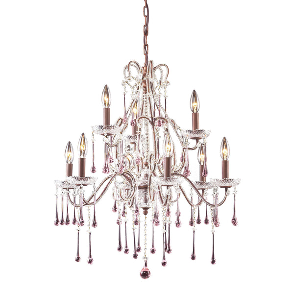 9 Light Chandelier In Rust & Rose Crystal