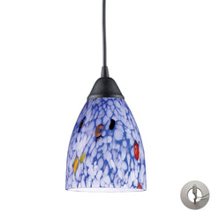 1 Light Pendant In Dark Rust and Starlight Blue Glass With Adapter Kit