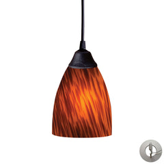 1 Light Pendant In Dark Rust and Espresso Glass With Adapter Kit