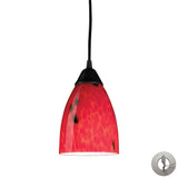 1 Light Pendant In Dark Rust and Fire Red Glass With Adapter Kit
