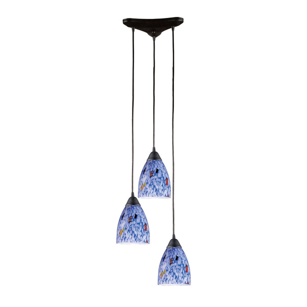 3 Light Pendant In Dark Rust & Starlight Blue Glass