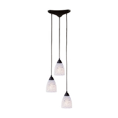 3 Light Pendant In Dark Rust & Show White Glass