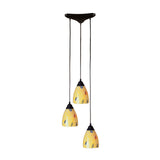 3 Light Pendant In Dark Rust & Yellow Blaze Glass