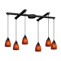 6 Light Pendant In Dark Rust & Espresso Glass