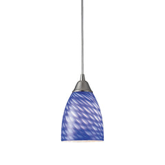 Arco Baleno 1 Light Pendant In Satin Nickel & Sapphire Glass