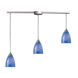 Arco Baleno 3 Light Pendant In Satin Nickel & Sapphire Glass