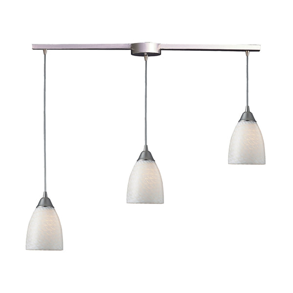 Arco Baleno 3 Light Pendant In Satin Nickel & White Swirl Glass