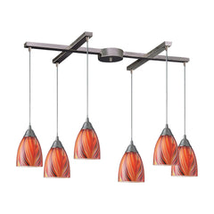 Arco Baleno 6 Light Pendant In Satin Nickel & Multi Glass