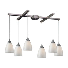 Arco Baleno 6 Light Pendant In Satin Nickel & White Swirl Glass