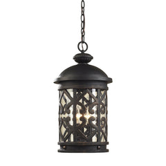 3 Light Outdoor Pendant In Weathered Charcoal and Clear Seeded Glass