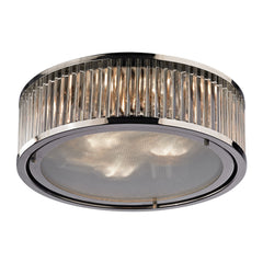 Linden Collection 3 light flush mount in Polished Nickel