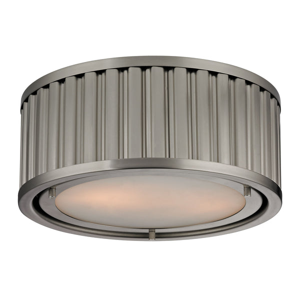 Linden Collection 2 light Flush Mount in Brushed Nickel