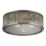 Linden Collection 3 light flush mount in Brushed Nickel