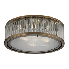 Linden Collection 3 light flush mount in Aged Brass