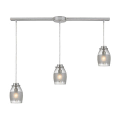 Carved Glass 3 Light Pendant In Brushed Nickel