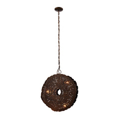 Organic Metal Etched Disk Chandelier