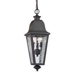 Forged Brookridge Collection 3 light outdoor pendant in Charcoal