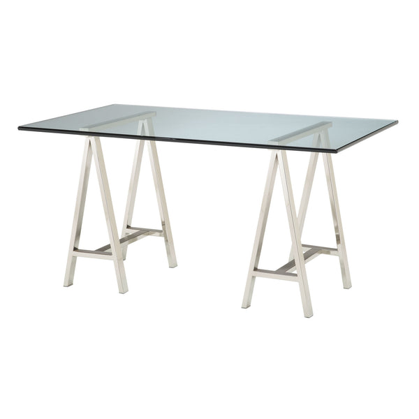 Contemporary Clear Glass Architect's Table Set w/ Polished Nickel