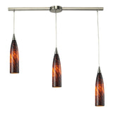 3 Light Pendant In Satin Nickel and Espresso Glass