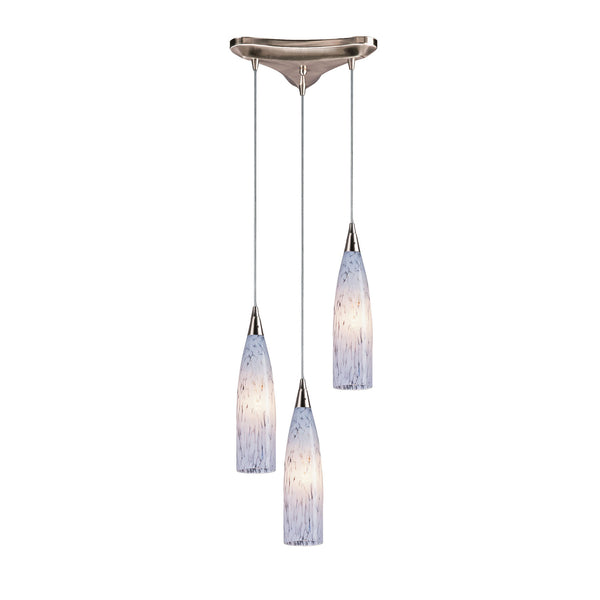 3 Light Pendant In Satin Nickel and Snow White Glass