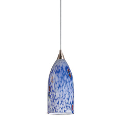 1 Light Pendant In Satin Nickel & Starlight Blue Glass