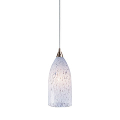1 Light Pendant In Satin Nickel & Snow White Glass