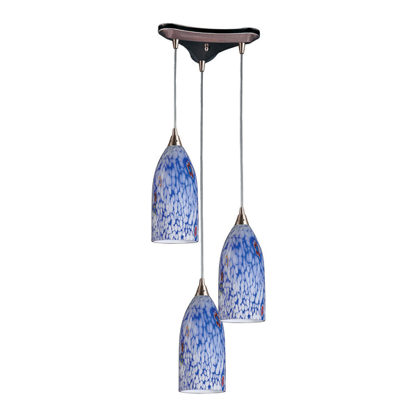 3 Light Pendant In Satin Nickel & Starlight Blue Glass - 13''x12''