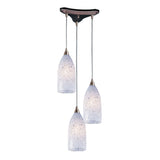 3 Light Pendant In Satin Nickel & Snow White Glass - 13''x12''