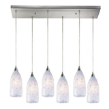 Verona 6 Light Pendant In Satin Nickel & Snow White Glass - 30''x9''